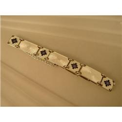Bracelet  Sterling  White and Blue  Enamel #2359865