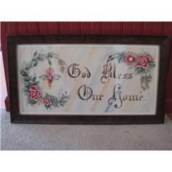 "Antique ""God Bless Our Home"" Watercolor  #2359872"