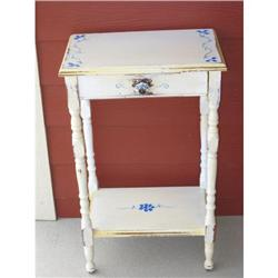 Shabby Chic Dutch Blue White Vintage End Table #2359873