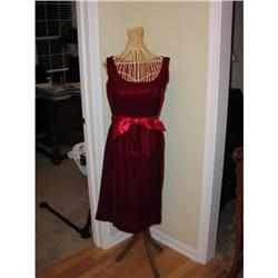 Vintage 50's Jeunesse Red Velvet Wiggle Dress #2359874