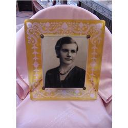 Large Rare Yellow Cut to Clear Picture Frame #2359894