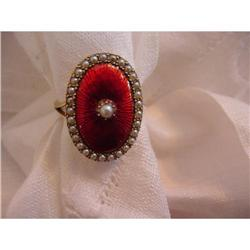 9K Gold Red Enamel Seed Pearl Ring #2359895