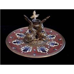 French Champleve Dolphin Candle Holder  #2359904