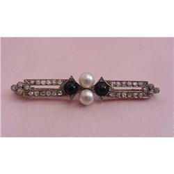 Art Deco Plat Diamond, Onyx, Pearl Brooch #2359910