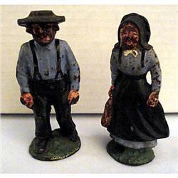 Antique Cast Iron Pair of AMISH Figurines #2359918