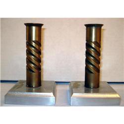 ART DECO Brass/Aluminum Candlesticks #2359920