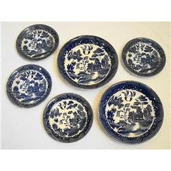 Occupied Japan Willow Ware - 2 Bowls/4 Saucers #2359923