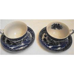 Japan WILLOW WARE - 2 Teacups/Saucers #2359924
