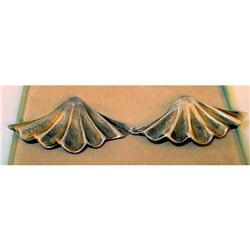 Vintage 40s Sterling SILVER Fan/SHELL Earrings #2359926