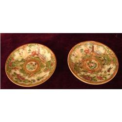 C. 1840 PAIR OF ROSE MEDALLION BUTTER PATS #2359984