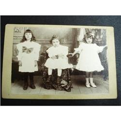OLD VICTORIAN PHOTOGRAPH - CHILDREN - 3 GIRLS #2359996