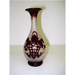 OLD BOHEMIAN FROSTED/RUBY GLASS VASE #2360002