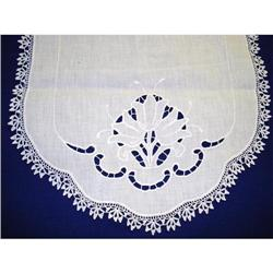 ANTIQUE BUFFET/TABLE RUNNER-CUTWORK&LACE #2360004