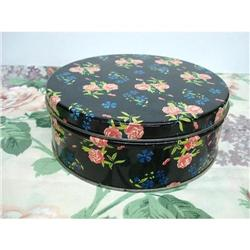 LOVELY ROUND TIN BOX - CHINTZ #2360019