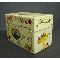 PRETTY VINTAGE RECIPE TIN BOX #2360046