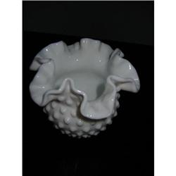 Fenton Milk Glass Ruffle Flower Vase!  #2360075