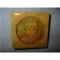 Edna Hibel signed Vintage Portrait trinket box!#2360080