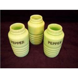 Three Jeanette Glass Jadite Shakers #2360128