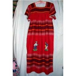 Vintage Red Oaxaca Apliqued Dress #2360216