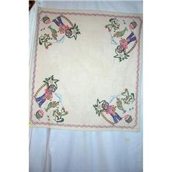 Vintage Embroidered Mexican Tablecloth #2360228
