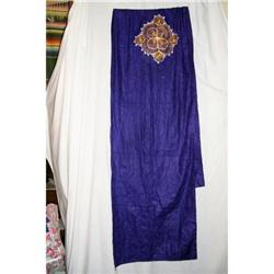 Vintage Purple Cotton Shawl Gold Design #2360229