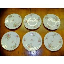 set of 6 T Haviland Limoges flowered Plates #2360233