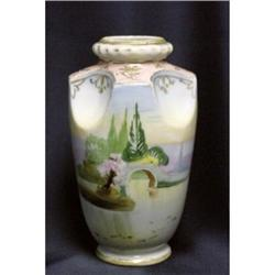 Nippon 6  Moriage Scenic Vase Pinched Sides #2379600