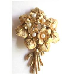 Boucher Violets Brooch w/ 7 Cultured Pearls #2379616