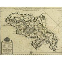 Map Martinique West Indies De L'isle Lisle 1732#2379630