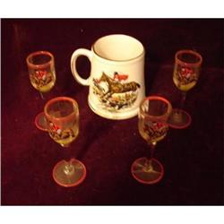 FOX HUNTING SCENE ON MUG AND SHOT GLASSES #2379647
