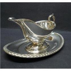 ANTIQUE SILVER PLATED GRAVY BOAT&TRAY #2379649