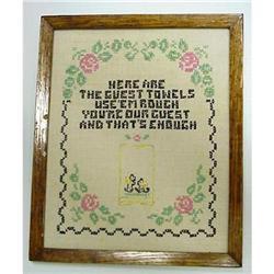 1920's Framed Embroidered SAMPLER #2379719