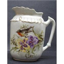 PRETY ANTIQUE JUG - IRISES&TINY BIRD #2379730