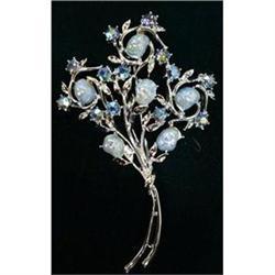 STUNNING BLUE RHINESTONE BROOCH FLOWERS #2379735