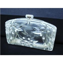 CARVED LUCITE&RHINESTONE PURSE/Handbag #2379754