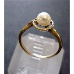 Yellow Gold Ladies PEARL RING #2379766