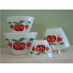 Fire King Apples and Cherries Mixing Bowls 4 #2379821
