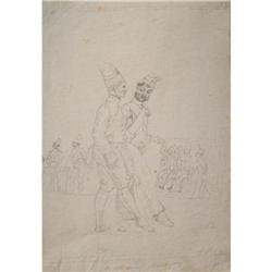 DRAWING OF FRENCH NAPLEONIC SOLDIERS 1821 #2379829