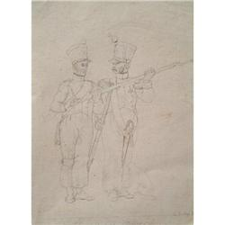 DRAWING OF FRENCH NAPLEONIC SOLDIERS 1821 #2379830