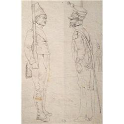 DRAWING OF  FRENCH NAPLEONIC SOLDIERS 1821 #2379833