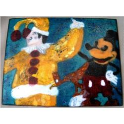 ENAMEL PLACK OF A MOUSE & CLOWN  #2379834