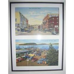 2 Vintage, Framed Views of Bangor & Bar Harbour#2379841