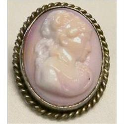 Carved Angel Skin Cameo in Silver Brooch #2379852