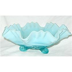Northwood Bowl Opalescent Blue Ruffles Blue #2379860
