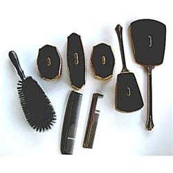 Vanity Elgin Art Deco 8 Piece Black Set #2379861