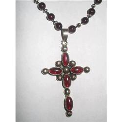 Polished Garnet and Silver 925 Cross Crucifix #2379876