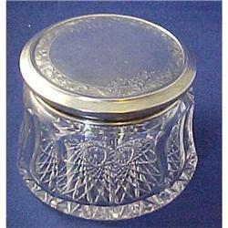 Huge Sterling Topped Dresser Jar Powder Box #2379882