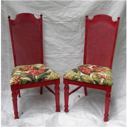Designer Red Painted Wood & Barkcloth Chairs #2379896