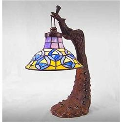 PEACOCK GLASS LAMP / NEW #2379959
