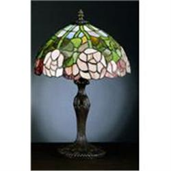 ROSE GLASS LAMP W METAL LEAD BASE / NEW #2379960